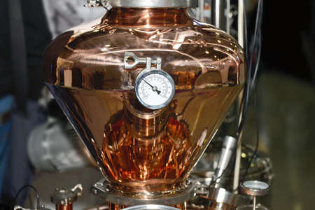 Copper tank with pressure gauge. Beer production equipment