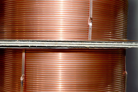 Copper tubes for cooling systems, air conditioners are wound on large coils. Copper tube production
