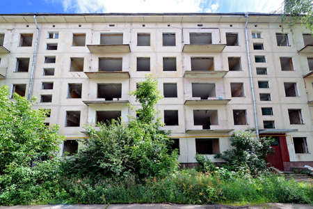 An old apartment building is ready for demolition. Empty Khrushchev house, renovation in Moscow, dismantling of old five story houses