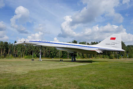 Russia, Moscow region, highway to Zhukovsky airport, August 25, 2020: Monument to the first Soviet supersonic passenger aircraft Tupolev Tu 144. The plane performed commercial flights between several cities of the USSR from 1975 to 1978