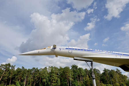 Russia, Moscow region, highway to Zhukovsky airport, August 25, 2020: Fragment of the monument to the first Soviet supersonic passenger aircraft Tupolev Tu 144. The plane performed commercial flights between several cities of the USSR from 1975 to 1978
