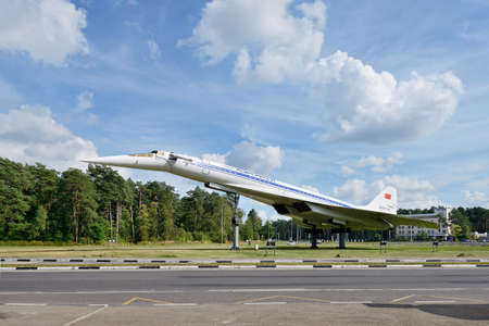 Russia, Moscow region, highway to Zhukovsky airport, August 25, 2020: Monument to the first Soviet supersonic passenger aircraft Tupolev Tu 144. The plane performed commercial flights from 1975 to 78 Editorial