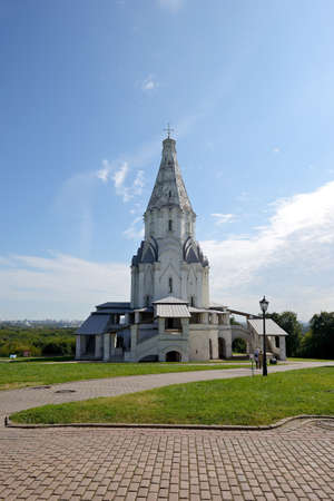 Church of the Ascension against the blue sky in Kolomenskoye. Famous recreation place and tourist attraction. Kolomenskoye in Moscow