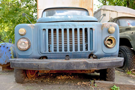 Moscow, Russia - August 23, 2020: Old rusty truck made in the USSR, brand GAZ. The most popular truck of the USSR in an abandoned parking lot