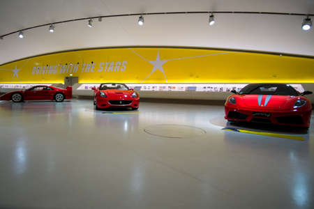 MODENA, ITALY - May, 2017. Museum Enzo Ferrari exhibit a Ferrari F40, Ferrari California and Ferrari 430 Scuderia - front view