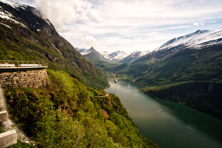 View of Geirangerfjord from Ornesvingen viewpoint Norway