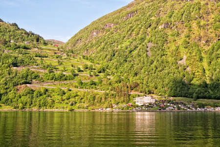 Panoramic view of Ornesvingen eagle road from Geirangerfjord, Norway Stock Photo