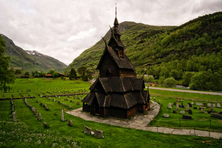 BORGUND, NORWAY - June, 2017. Borgund stavkirke, triple nave stave church Sogn-type Editorial