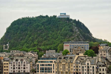 ALESUND, NORWAY - June, 2017. View of Aksla hill, with Jugendstil and Art Nouveau buildings