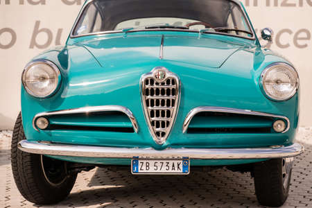 Modena, Italy - March, 2018. Alfa Romeo Giulietta Sprint exhibited in the square of the Enzo Ferrari museum house on the occasion of the Concours d'Elegance Trofeo Salvarola Terme Editorial