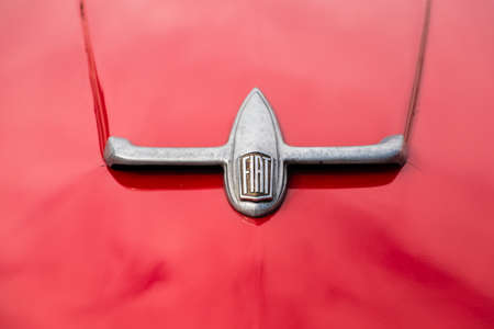 Modena, Italy - March, 2018. A hood of Fiat 8V Coupè on display in the square of the Enzo Ferrari museum house on the occasion of the Concours dElegance Trofeo Salvarola Terme Editorial