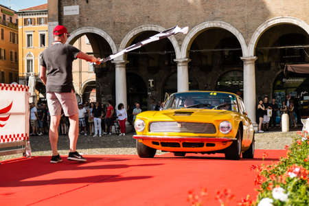 MODENA, ITALY - June, 2018. A Iso Rivolta IR 340 of the 1965 in Piazza Grande at the end of the race Modena 100 ore Classic