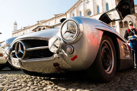 MODENA, ITALY - June, 2018. Left view of a Mercedes Benz 300 SL Gullwing of 1956 in Piazza Grande