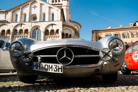 MODENA, ITALY - June, 2018. Front side view of a Mercedes Benz 300 SL Gullwing of 1956 in Piazza Grande