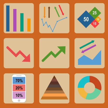atypical: The vector illustration Flat design icons for business and finance Illustration