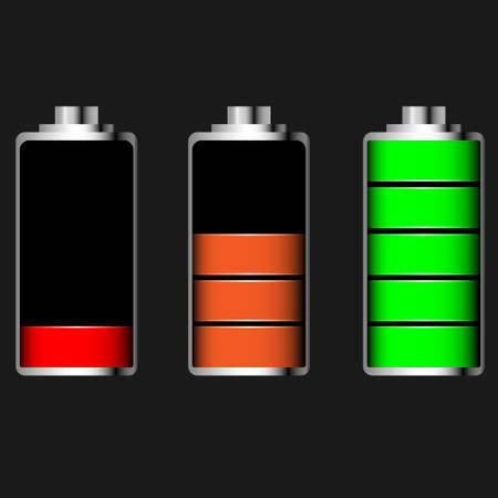 glossy battery set with various loads and colors