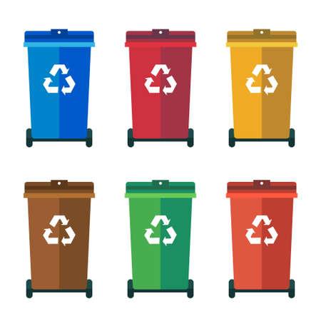 sorting: Different Colored wheelie bins, trash bins, sorting garbage vector flat illustration