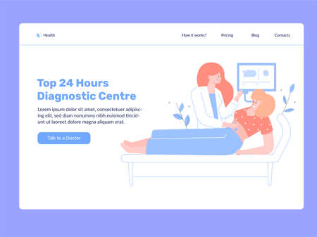 The girl at the doctors appointment makes an ultrasound scan. Vector flat illustration, medical center. Landing Page Template. Illusztráció