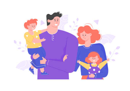 Happy family is standing together. Hug and smile. Joyful people dad, mom and two children. Vector illustration.