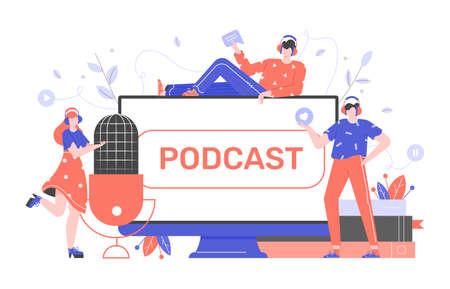 Podcasts, radio, cursos online. Los jóvenes graban series episódicas de archivos de audio digitales, un programa en línea. Gran micrófono, monitor de computadora, libros. Personajes planos vectoriales. Ilustración de concepto.