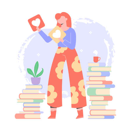 Reading fan girl. Evaluates books, writes reviews, participates in reading challenges. Character surrounded by piles of books. Vector illustration.