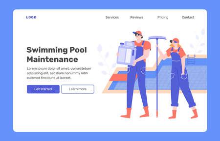 Swimming pool maintenance.