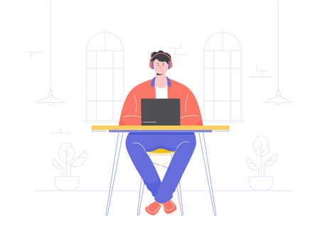 Young man works in coworking or a cafe. Иллюстрация