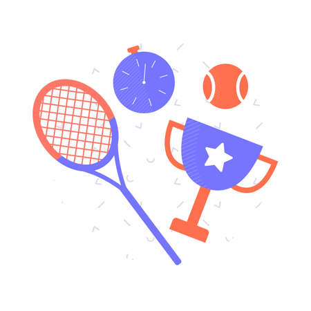 On a pattern background sports objects tennis racket, stopwatch, ball, winners cup. Vector illustration. Иллюстрация