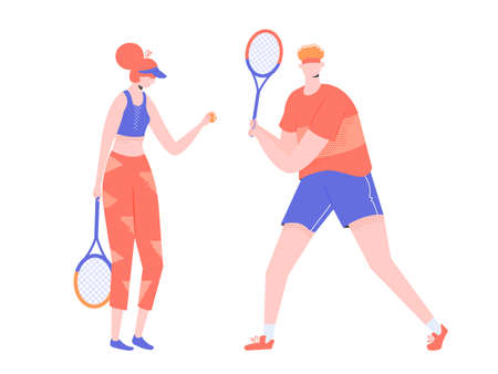 Couple of athletes tennis players. Man and woman. Vector characters isolated on white background.
