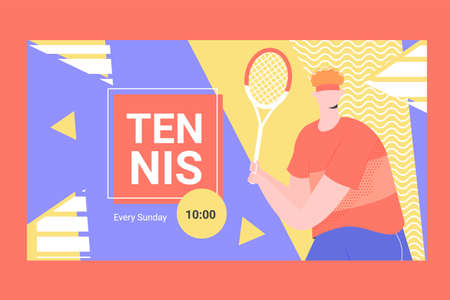 Banner for competitions or training in tennis. Male player with a racket. Vector illustration.