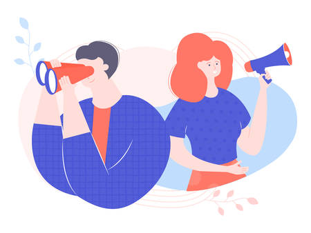 Man looks through binoculars. Woman speaks into a loudspeaker. Employee search, recruitment, teamwork, brainstorm. Vector illustration for web pages and printed materials.