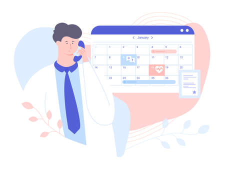 Male doctor answers the phone. He checks the schedule to make an appointment with the patient. Calendar and diploma of education. Vector illustration for landing pages and banners.
