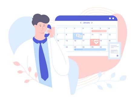 Un médecin de sexe masculin répond au téléphone. Il vérifie l'horaire pour prendre rendez-vous avec le patient. Calendrier et diplôme d'études. Illustration vectorielle pour les pages de destination et les bannières.