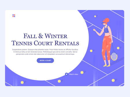 Concept template hero image for landing page. Girl athlete plays tennis on the court. Sports and active hobby, court rental. Trendy vector illustration.