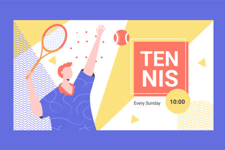 Banner for competitions or training in innings. Male player with a racket makes a tennis innings. Vector illustration. Иллюстрация