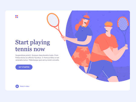 Concept template hero image for landing page. A couple playing on the tennis court. Coach and student. Sports and active hobby. Trendy vector illustration. Иллюстрация