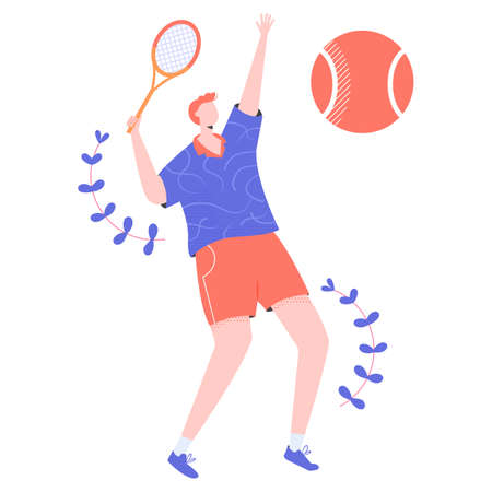 Male tennis player character with a racket in his hands. Professional or amateur player makes a tennis innings. Vector.