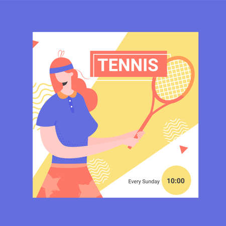 Banner for competitions or training in tennis. Female player with a racket. Square shape for social networks. Vector illustration.