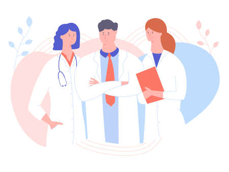Three doctors on a pastel background. A man and two women in white coats. Medicine, hospital workers, online consultation on diseases. Vector illustration. Ilustrace