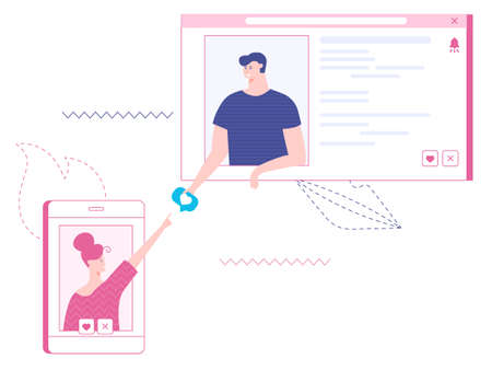 Vector illustration of online dating. Quick search for a partner, love for life, likes and ratings. Man likes a woman, online meeting. Concept web version of the service.
