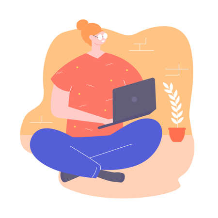 Young woman character sitting on the floor with a laptop. Freelance, remote online work and online training. Vector illustration.