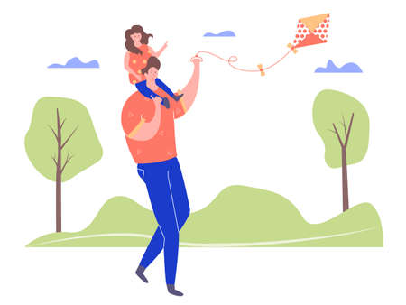 Father and daughter in the park playing with a kite. Family weekend. A girl sits on the shoulders of her father. Vector characters on the background of trees and clouds.