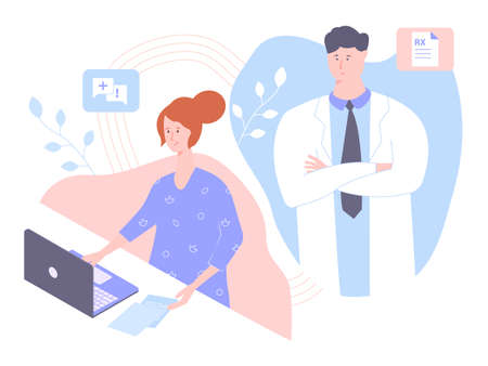 Nurse working on a laptop. The doctor boss is watching. Chief and subordinate. Medical staff, online consultations, cure diseases. Vector illustration.