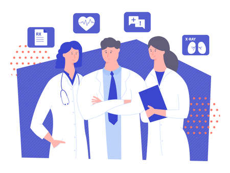 Three doctors are standing on a blue background. Icons RX, pulse, consultation, x-ray. Vector illustration on the medical theme.