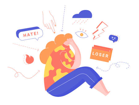 Cyberbullying and online pressure. Ilustrace