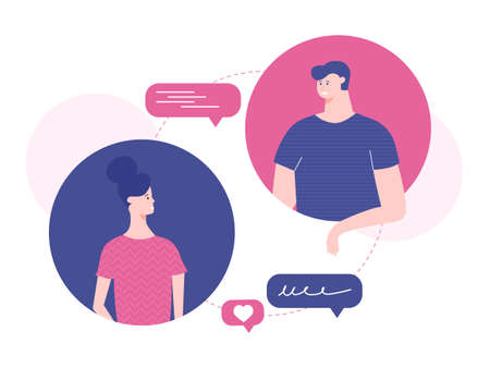 Man and woman text messaging. Stock Illustratie
