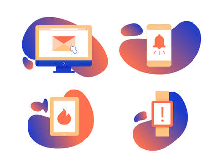 Set of four icons on gradient background. Multi-factor authentication, a variety of electronic devices, notification and new message. Computer, mobile, tablet, smart watch. Vector illustration.