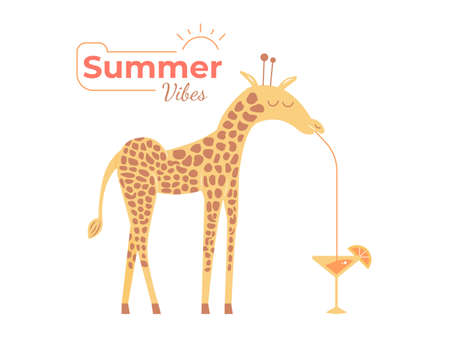 Cute giraffe enjoys a cool cocktail.