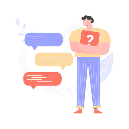 Man is standing and holding a question mark in his hands. Next to him are bubbles of messages. Technical support, chat in the messenger, answers to frequently asked questions. Vector illustration.