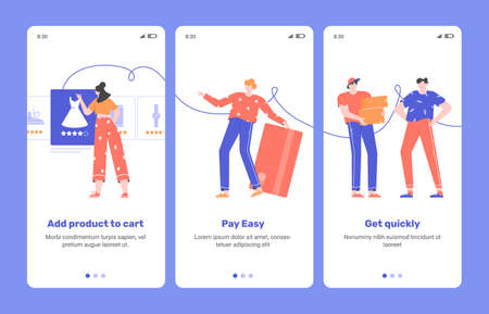 Convenient shopping. Mobile application onboarding Illustration